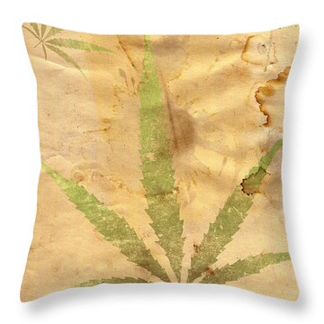 Grunge Paper With Leaf Of Grass Throw Pillow by Michal Boubin