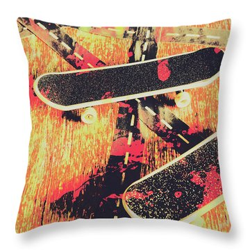 Grunge Skate Art Throw Pillow