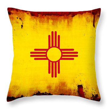 Grunge Style New Mexico Flag Throw Pillow by David G Paul