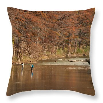 Guadalupe River Fly Fishing Throw Pillow