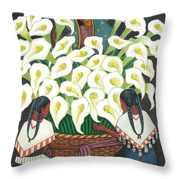 Guadalupe Visits Diego Rivera Throw Pillow