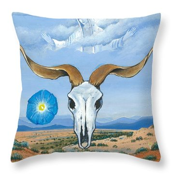 Guadalupe Visits Georgia O'keeffe Throw Pillow
