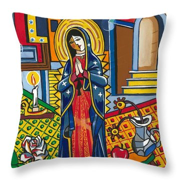 Guadalupe Visits Picasso Throw Pillow
