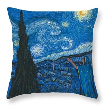 Guadalupe Visits Van Gogh Throw Pillow