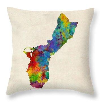 Guam Watercolor Map Throw Pillow
