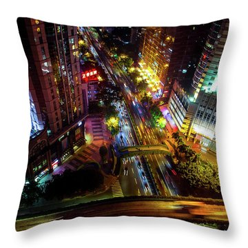 Guangzhou City Streets At Night Throw Pillow