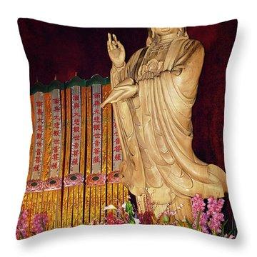 Guanyin Bodhisattva - Jin'an's Rare Female Buddha Throw Pillow by Christine Till