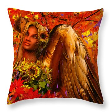 Guardian Angel/autumn Throw Pillow