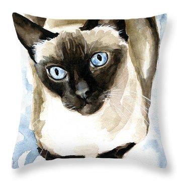 Guardian Angel - Siamese Cat Portrait Throw Pillow