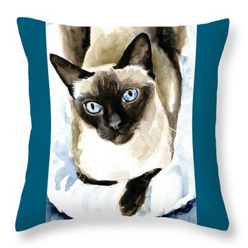 Guardian Angel - Siamese Cat Portrait Throw Pillow