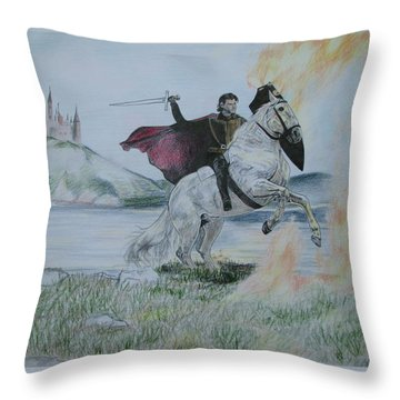 Throw Pillow featuring the drawing Guardian Of The Castle by Melita Safran