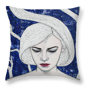 Throw Pillow featuring the mixed media Guardian Of The Night by Natalie Briney