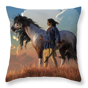 Guardians Of The Plains Throw Pillow by Daniel Eskridge