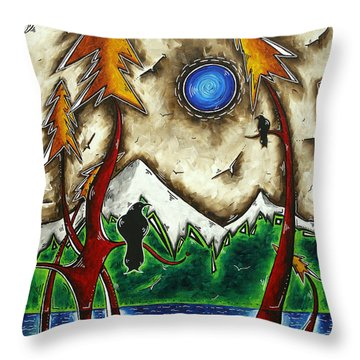 Guardians Of The Wild Original Madart Painting Throw Pillow by Megan Duncanson