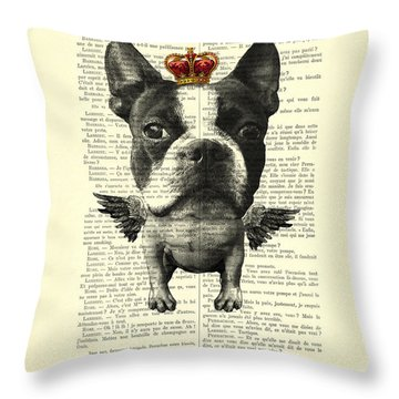 Boston Terrier With Wings And Red Crown Vintage Illustration Collage Throw Pillow