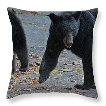 Guarding Her Cubs Throw Pillow by DigiArt Diaries by Vicky B Fuller