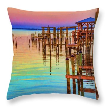 Guarding The Dock Throw Pillow
