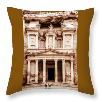 Throw Pillow featuring the photograph Guarding The Petra Treasury by Nicola Nobile