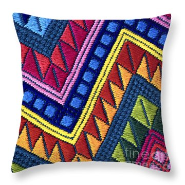 Guatemala Colorful Abstract Photograph - Guatemalan Diamonds  Throw Pillow