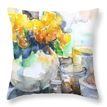 Gudrun's Kitchen Window Throw Pillow by Barbara Pommerenke