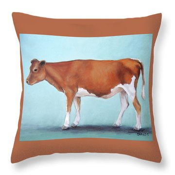 Guernsey Cow Standing Light Teal Background Throw Pillow