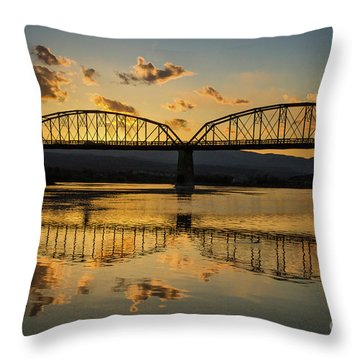 Guffey Bridge At Sunset Idaho Journey Landscape Photography By Kaylyn Franks Throw Pillow