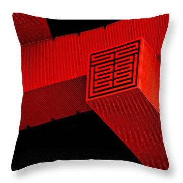 Gugong - Forbidden City Red - Chinese Pavilion Shanghai Throw Pillow by Christine Till