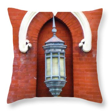 Throw Pillow featuring the painting Guiding Light At The Mother Church by Sandy MacGowan