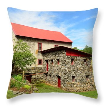 Guilford Grist Mill - 2 Throw Pillow by Bob Sample