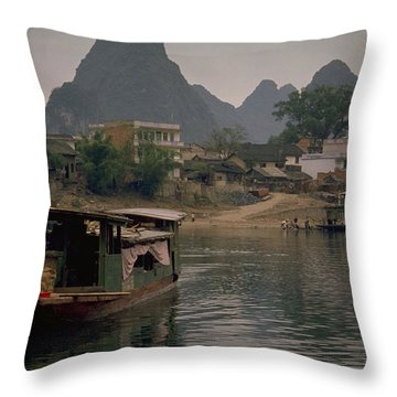 Guilin Limestone Peaks Throw Pillow