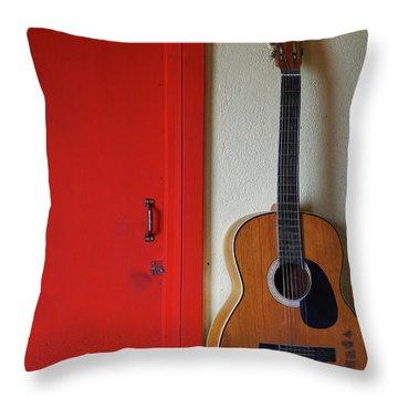Guitar And Red Door Throw Pillow