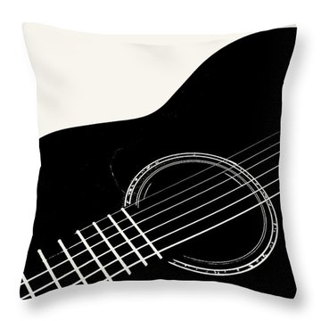 Guitar, Black And White,  Throw Pillow by Jana Russon