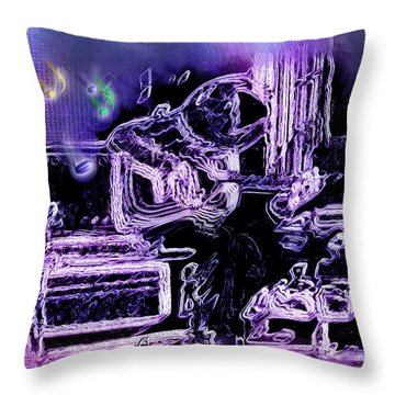 Throw Pillow featuring the photograph Guitar Blues by Susan Kinney