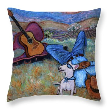 Guitar Doggy And Me In Wine Country Throw Pillow