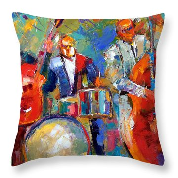 Guitar Drums And Bass Throw Pillow by Debra Hurd