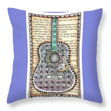 Guitar In A Book Throw Pillow by Delein Padilla