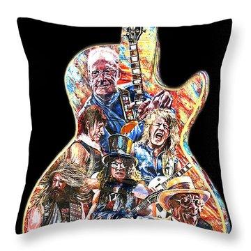 Guitar Legends Picking A Gibson Throw Pillow