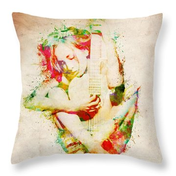 Guitar Lovers Embrace Throw Pillow by Nikki Smith