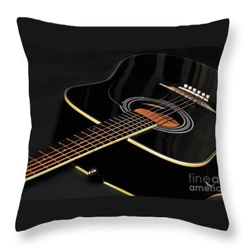 Throw Pillow featuring the photograph Guitar Low Key By Kaye Menner by Kaye Menner