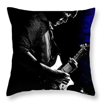 Guitar Man In Blue Throw Pillow by Meirion Matthias