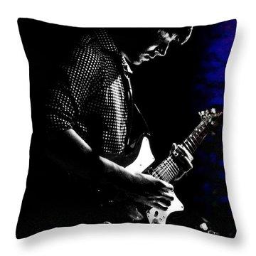 Guitar Man In Blue Throw Pillow by Meirion Matthias