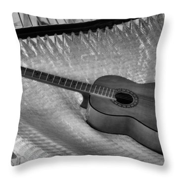 Throw Pillow featuring the photograph Guitar Monochrome by Jim Walls PhotoArtist