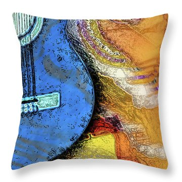 Guitar Music Throw Pillow by Allison Ashton