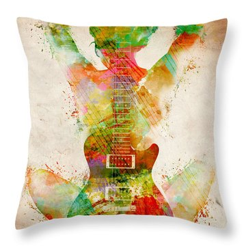 Guitar Siren Throw Pillow by Nikki Smith