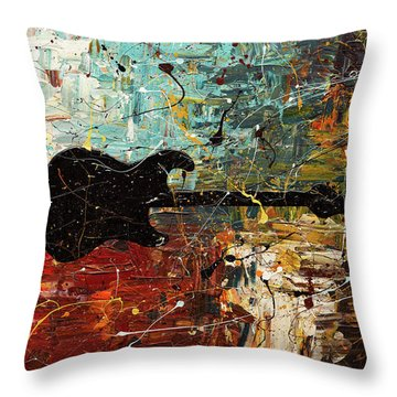 Throw Pillow featuring the painting Guitar Story by Carmen Guedez