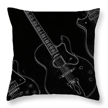 Guitar Trio Throw Pillow by Karol Livote