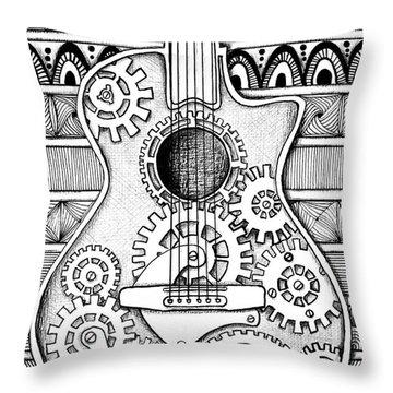 Guitarra No 2 Throw Pillow by Delein Padilla