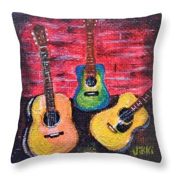 Guitars In Miniature Throw Pillow