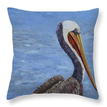 Gulf Coast Brown Pelican Throw Pillow by Suzanne Theis