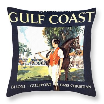 Gulf Coast - Illinois Central - Vintage Poster Restored Throw Pillow